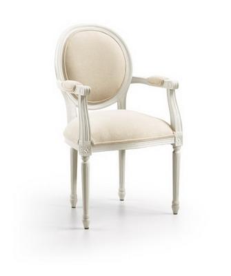 ... / Vintage / Čalouněná bílá zdobená židle Vintage Jasmine